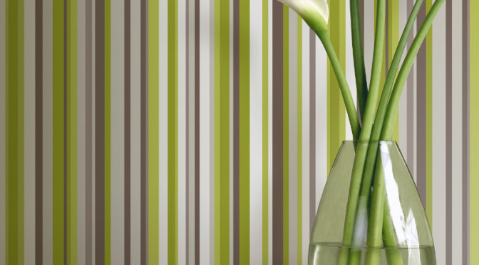 Arthouse sophia stripe wallpaper in green for Wallpaper for dining room feature wall