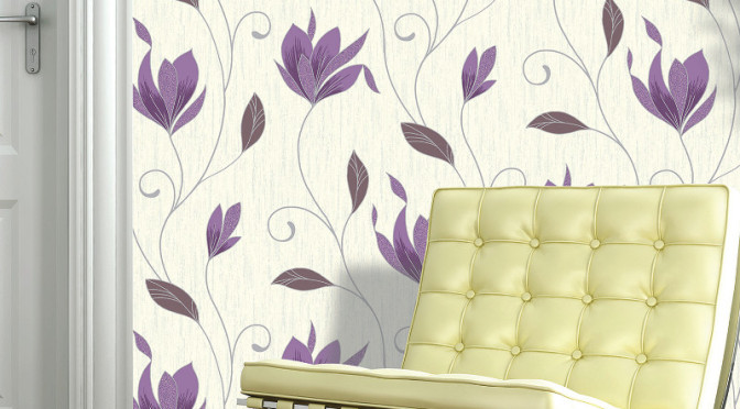 Vymura Synergy Glitter Floral Wallpaper in Plum