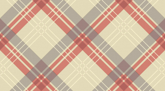 Arthouse Fairburn Tartan Check Wallpaper – Coral & Taupe
