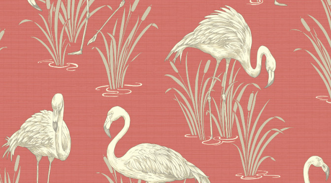 Arthouse Lagoons Flamingos Wallpaper in Coral