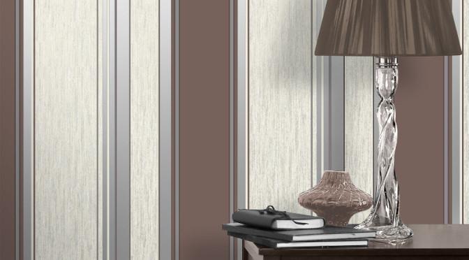 Vymura Synergy Glitter Stripe Wallpaper – Chocolate Brown