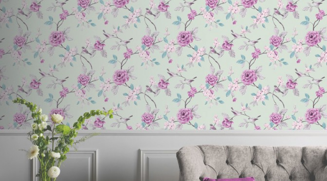 Arthouse Lara Wallpaper in Mint