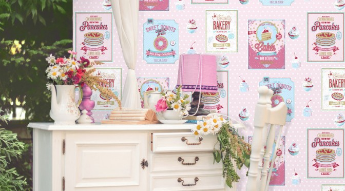 Coloroll sugar sweet wallpaper in pink for Kitchen wallpaper uk