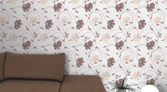 Crown Sheena Glitter Floral Wallpaper – Cream and Chocolate Brown