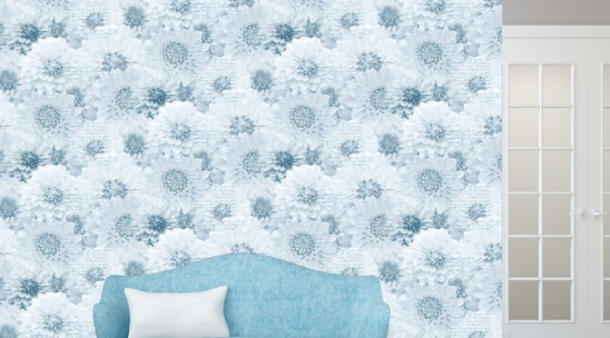 Muriva Chrysanth Wallpaper – Blue