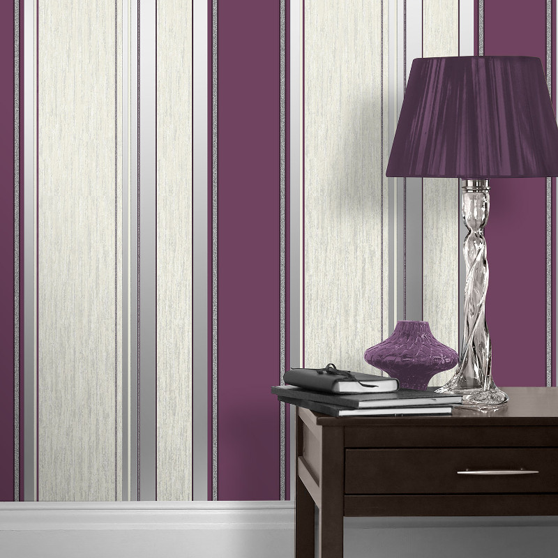 Vymura synergy glitter stripe wallpaper for Purple and silver wallpaper