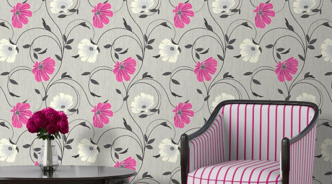 Crown Sheena Glitter Floral Wallpaper – Grey and Pink