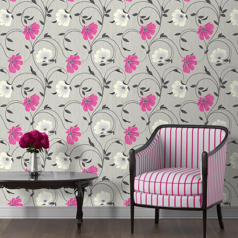 Crown Sheena Glitter Floral Wallpaper - Grey
