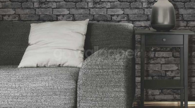 Fine Decor Rustic Brick Wallpaper – Black, Grey and Silver