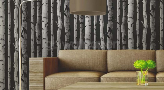 Fine Decor Distinctive Birch Tree Wallpaper – Charcoal Grey