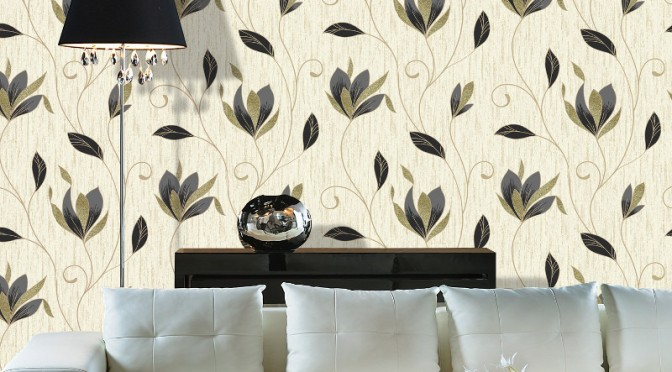 Vymura Synergy Glitter Floral Wallpaper – Black and Gold