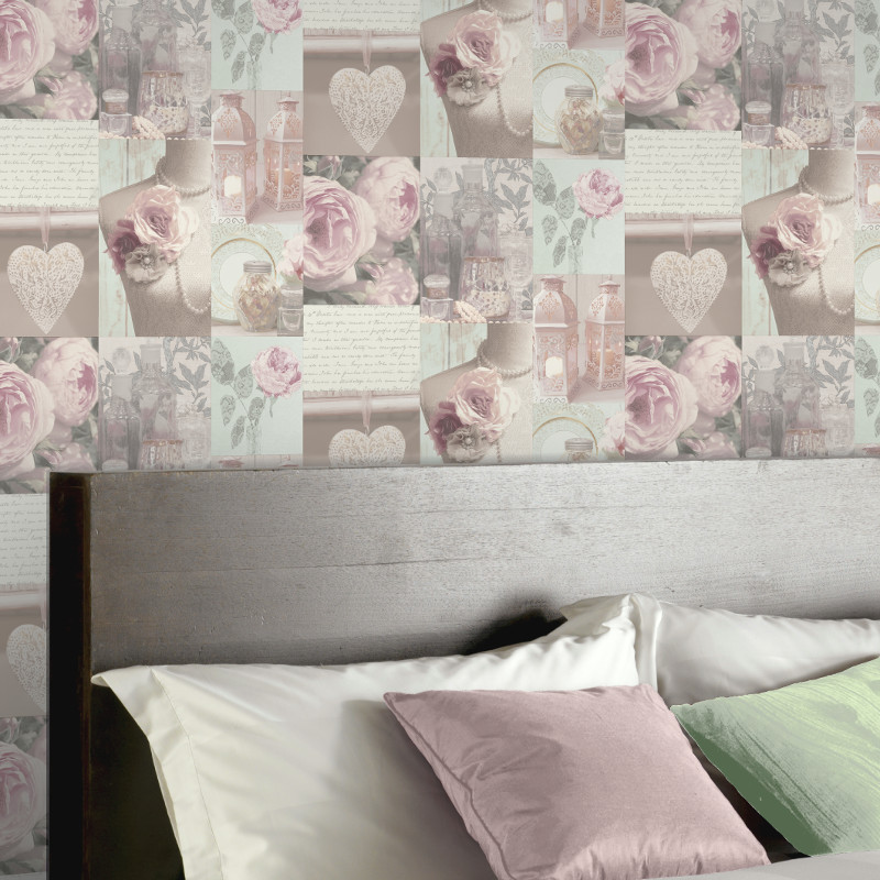 Arthouse charlotte montage blush wallpaper for Tappezzeria per camera da letto
