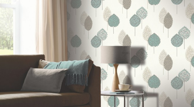 Arthouse dante motif wallpaper teal for Teal wallpaper living room