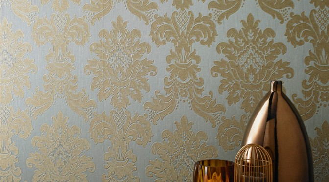 Arthouse Messina Damask Wallpaper – Teal and Gold