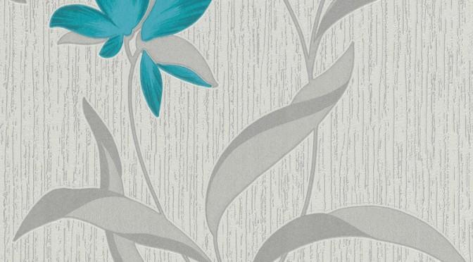 Erismann Fleur Glitter Wallpaper – Teal and Silver