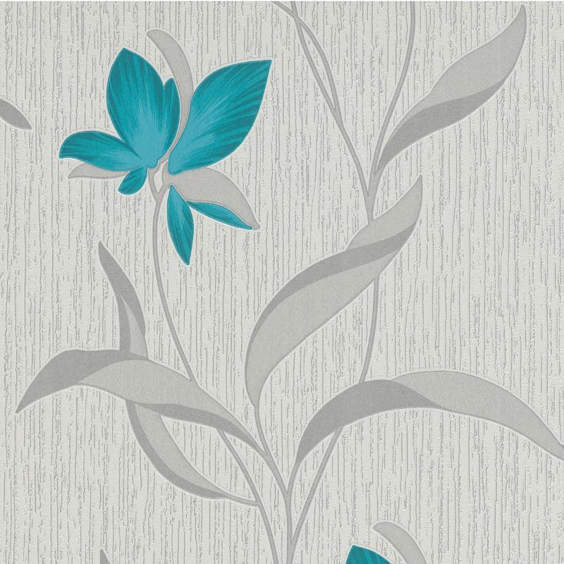 Erismann Fleur Glitter Wallpaper Teal And Silver