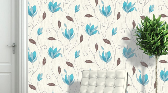 Vymura Synergy Glitter Floral Wallpaper – Teal and Silver