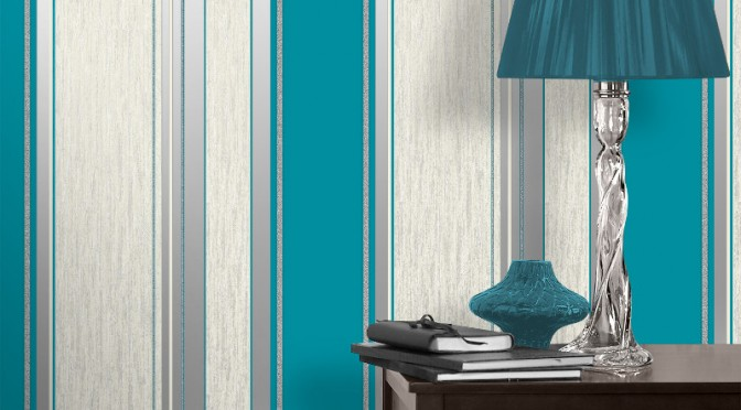 Vymura Synergy Glitter Stripe Wallpaper – Teal and Silver
