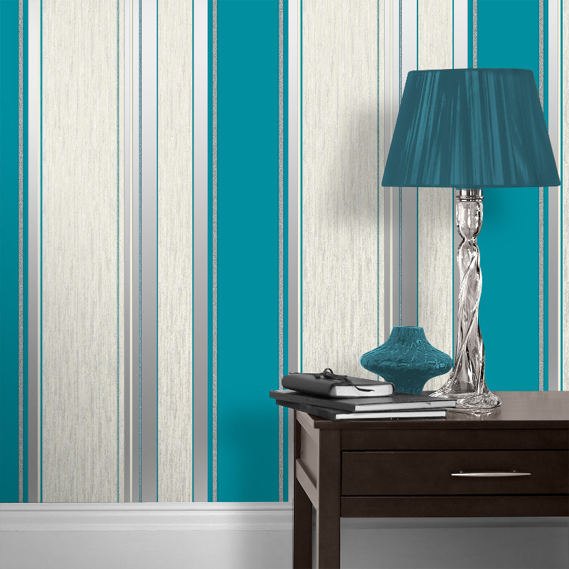 Vymura synergy glitter stripe wallpaper teal and silver for Teal wallpaper living room