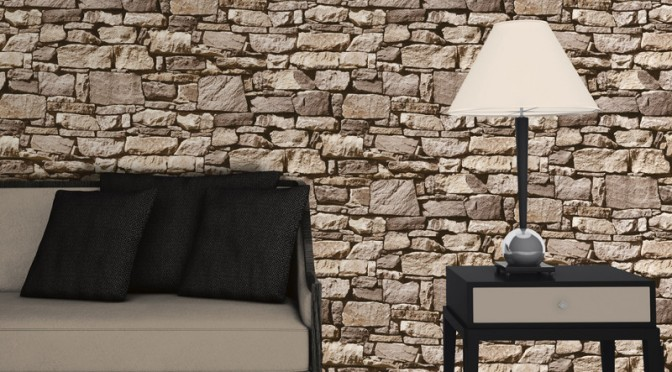Muriva dry stone wall 3d effect wallpaper sand for 3d effect bedroom wallpaper