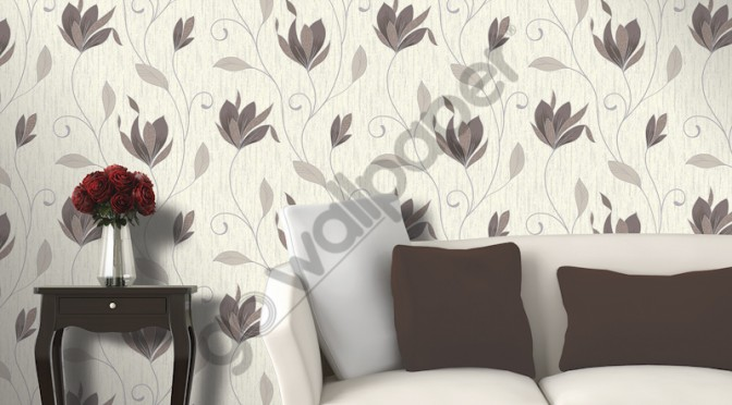 Vymura Synergy Glitter Floral Wallpaper – Chocolate Brown and Silver