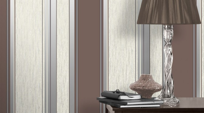 Vymura Synergy Glitter Stripe Wallpaper – Chocolate Brown and Silver