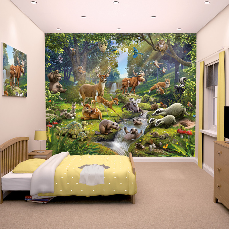 walltastic animals of the forest mural. Black Bedroom Furniture Sets. Home Design Ideas