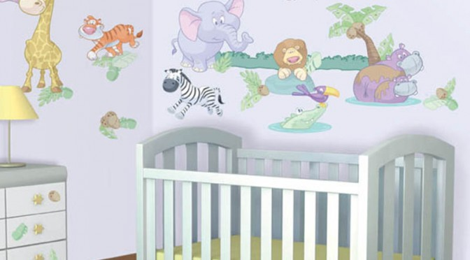 Walltastic Baby Jungle Safari Room Decor Kit