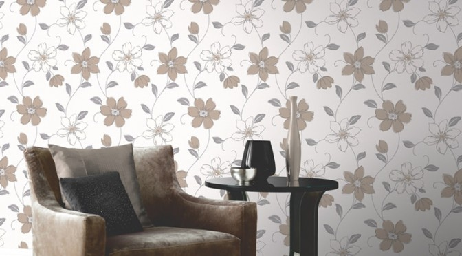 Arthouse Anouska Floral Wallpaper – Taupe