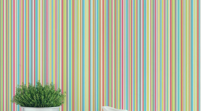 Coloroll Martez Stripe Wallpaper – Red and Green