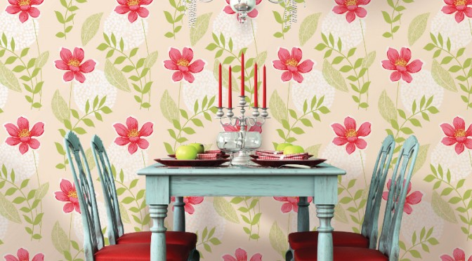 Coloroll Salsa Floral Wallpaper – Red and Cream