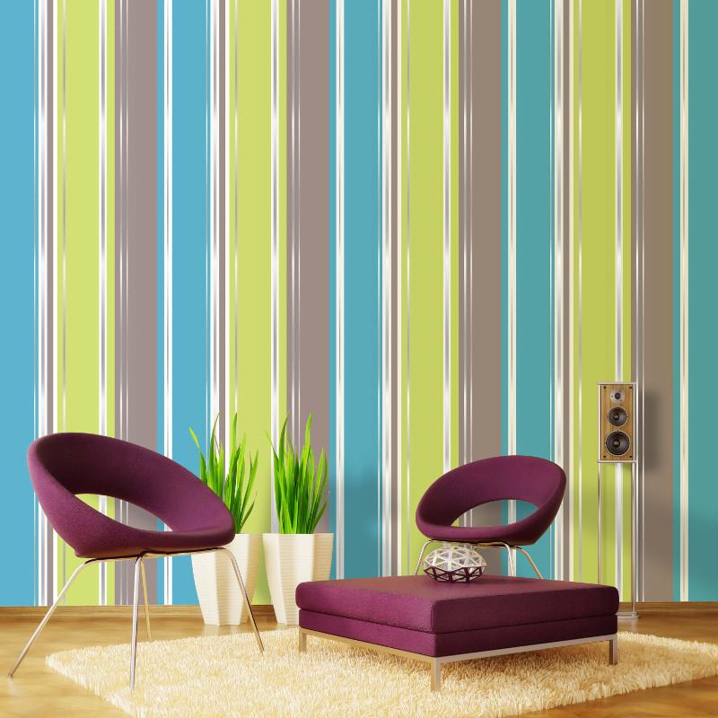 Coloroll Salsa Stripe Wallpaper Lime Amp Chocolate
