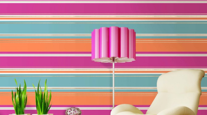 Coloroll Salsa Stripe Wallpaper – Pink & Orange