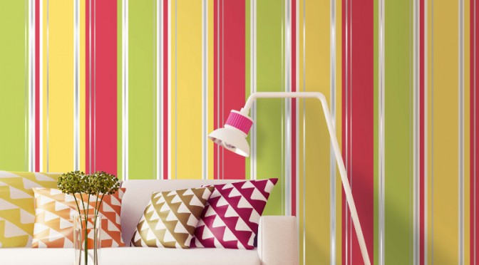 Coloroll Salsa Stripe Wallpaper – Red & Yellow