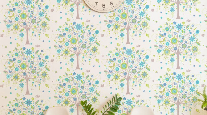 Coloroll Tree of Life Wallpaper – Lime and Blue