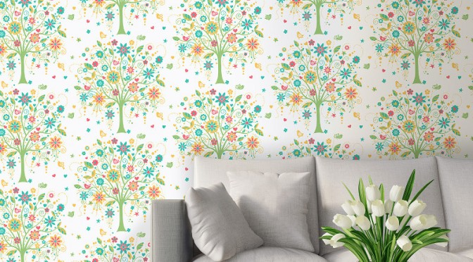 Coloroll Tree of Life Wallpaper – Red and Green