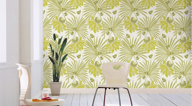Crown Tropicana Wallpaper Green And White