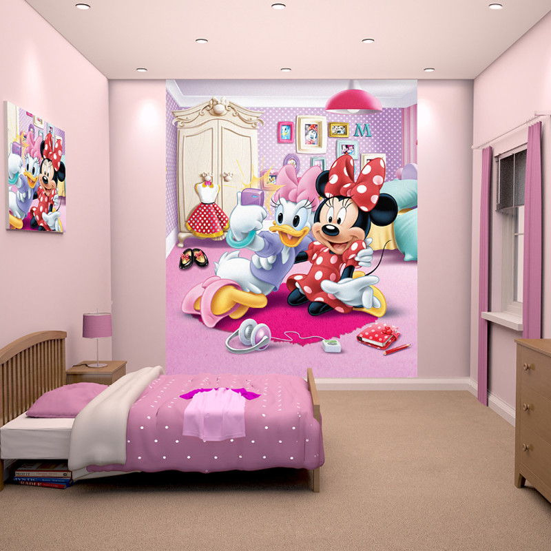 Walltastic disney minnie mouse wallpaper mural for Decoration maison mickey