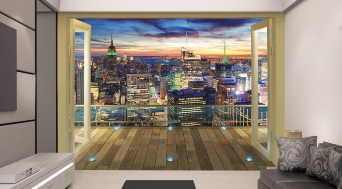 Walltastic new york city skyline wallpaper mural for Wallpaper for dining room feature wall