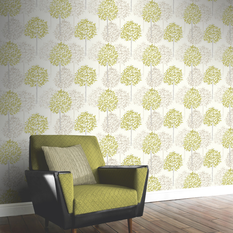 Arthouse boulevard trees wallpaper green and cream for Wallpaper designs for living room green
