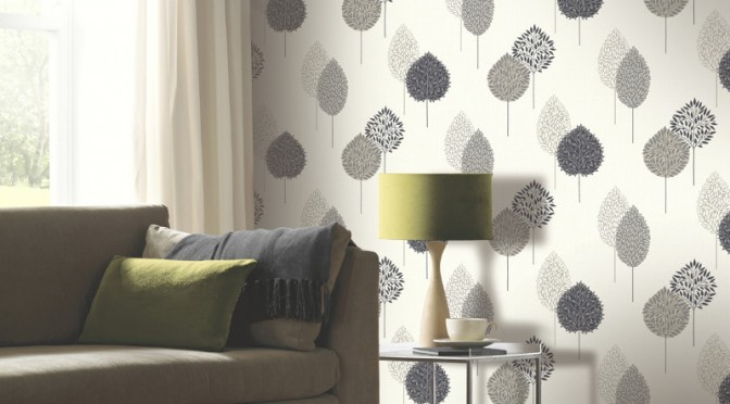 Arthouse dante motif wallpaper black for Living room wallpaper feature wall