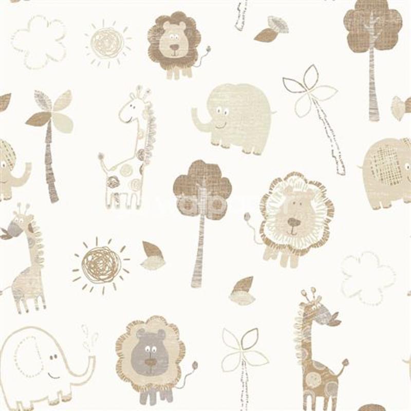 Debona zoo wallpaper in beige for Kids room wallpaper texture