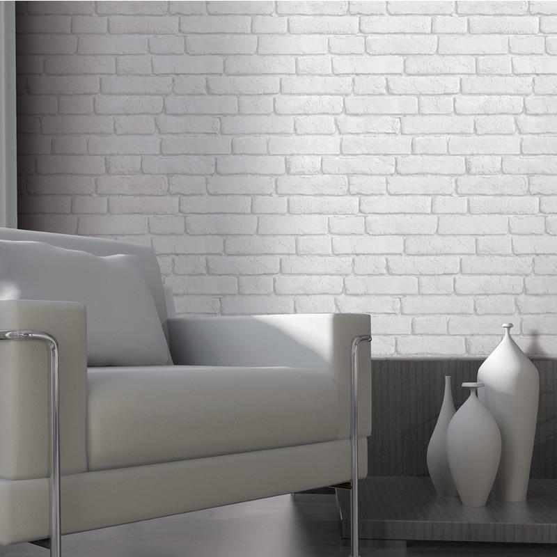 Muriva brick 3d effect wallpaper white for 3d brick wallpaper uk