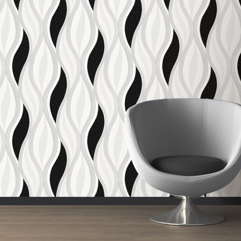 Direct Wallpapers Wave Glitter Wallpaper Black