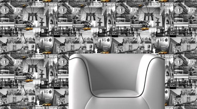 Muriva The Big Apple Black, White & Yellow Wallpaper