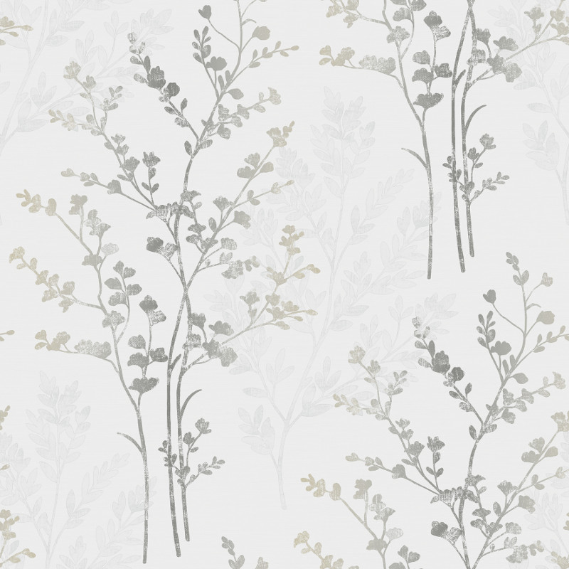 arthouse fern motif wallpaper silver white and grey