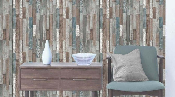 Fine decor parquet wood reclaim wallpaper for Wallpaper feature wall ideas dining room