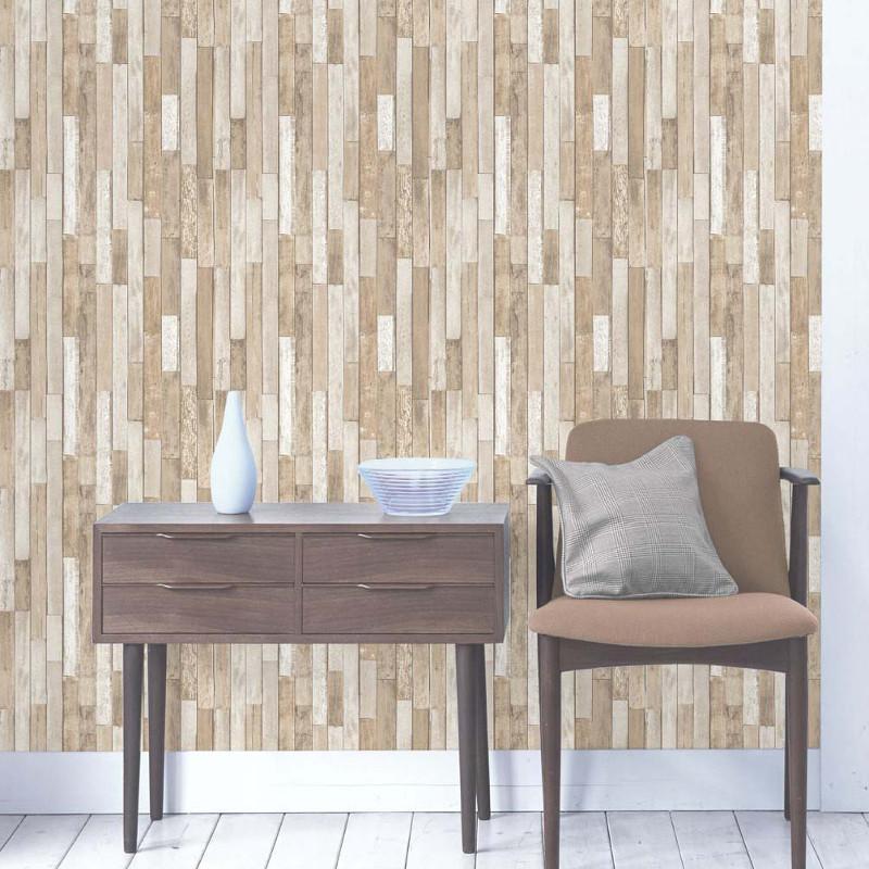Fine Decor Parquet Wood Reclaim Wallpaper Cream