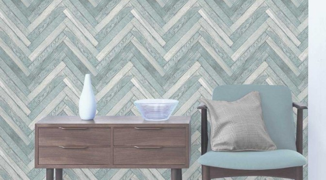 Fine Decor Parquet Wood Wallpaper – Blue