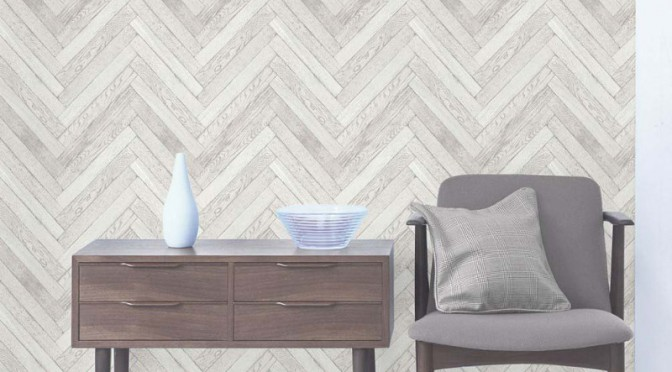 Fine Decor Parquet Wood Wallpaper – White